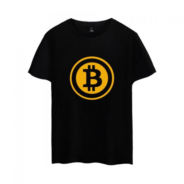 Брендовая футболка с коротким рукавом и принтом Bitcoin 1