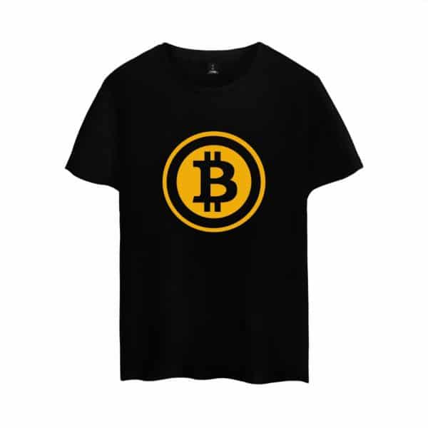 Стильная футболка c коротким рукавом и логотипом Bitcoin 2